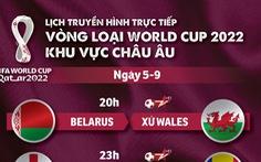Lịch trực tiếp vòng loại World Cup 2022 khu vực châu Âu 6-9: Nhiều ông lớn thi đấu