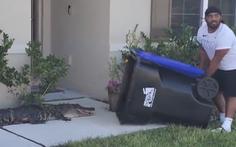 Dùng thùng rác lùa bắt cá sấu 'khủng' xâm nhập nhà dân