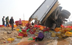 Lật xe 8 tấn cá, dân giúp giữ an ninh, giữ hàng