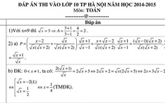 Đáp án môn toán tuyển sinh lớp 10 tại Hà Nội
