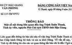 Hậu Giang triệu tập ông Trịnh Xuân Thanh việc xin ra khỏi Đảng