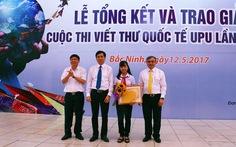 Nữ sinh lớp 8 giành giải nhất cuộc thi viết thư quốc tế