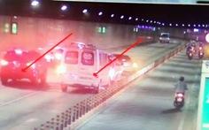 Ôtô chạy ngược chiều trong hầm Thủ Thiêm gây tai nạn liên hoàn