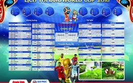 Tặng bạn đọc lịch thi đấu World Cup 2018