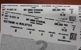 Vé trận chung kết VN- Malaysia bị in lỗi