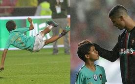 Xem kỹ năng dứt điểm của con trai Ronaldo