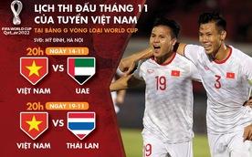 Lịch thi đấu tháng 11 của Việt Nam ở vòng loại World Cup 2022