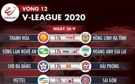 Lịch trực tiếp vòng 12 V-League 2020: Nhiều trận cầu hấp dẫn