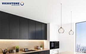 Cách kết hợp đá ốp tạo điểm nhấn cho không gian bếp