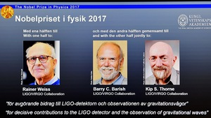 Sóng hấp dẫn thắng giải Nobel Vật lý 2017