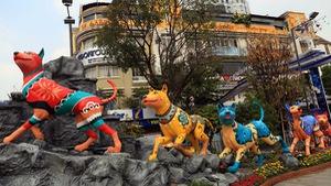 Chó Phú Quốc nổi bật ở đường hoa Nguyễn Huệ