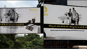 Trung Nguyên chỉnh sửa bảng hiệu quảng cáo tặng sách