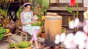 Ngắm Hoa hậu biển Ninh Hoàng Ngân với áo dài cách tân đón Tết