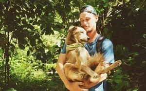 Chàng trai dắt chó đi bộ vòng quanh thế giới