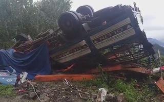 Ô tô chở gỗ lật úp, 2 vợ chồng tử vong trong cabin