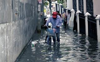 Triều cường dâng cao khiến nhiều tuyến đường bị ngập nặng