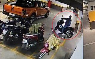 Vào tầng hầm chung cư trộm xe máy, bảo vệ bất lực ngăn chặn