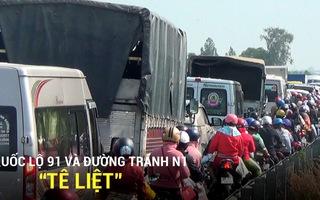 """Quốc lộ 91 và đường tránh N1 """"tê liệt"""" vì khách hành hương đến An Giang quá đông"""