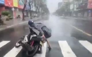 Video: Gió cực lớn quật ngã người và xe trên đường phố Đà Nẵng
