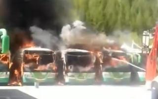 Video: Ném thuốc còn cháy dở, hàng loạt xe buýt bốc cháy dữ dội