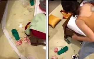 Video: Cô gái ném đồ ăn khắp phòng VIP khách sạn, dư luận giận dữ vì 'kém văn minh'
