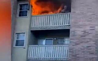 Video: Cựu cầu thủ lao người ôm cháu bé được thả xuống từ tầng 3 của một căn hộ đang cháy