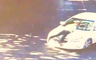 Video: Tài xế vi phạm luật giao thông, hất cảnh sát lên nắp capo rồi bỏ chạy