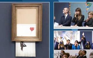 Video: Bức tranh cô gái cầm quả bóng bay bị máy hủy tài liệu cắt dở có giá 25,4 triệu USD