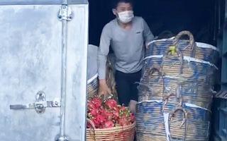 Video: Trốn sau thùng xe tải chở thanh long để né chốt kiểm dịch COVID-19