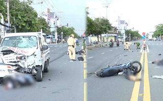 Video: Hai nam thanh niên đi xe máy va chạm ôtô tải, hiện trường có xác chó