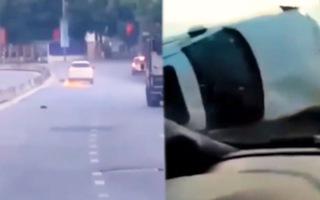 Video: Tài xế húc chốt kiểm dịch, kéo lê xe máy tóe lửa trên đường phố