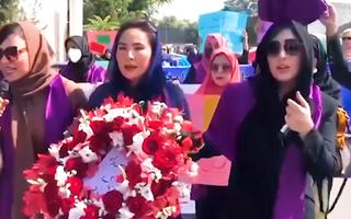 Video: Phụ nữ Afghanistan mang hoa đi biểu tình, yêu cầu được tham gia chính quyền