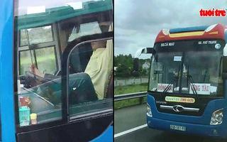 VIDEO: Tài xế xe khách lái xe bằng chân trên đường cao tốc Trung Lương