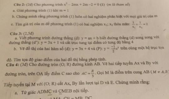 Bình Dương: học sinh được hưởng điểm phần sai trong đề toán lớp 9