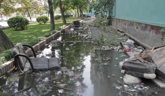 Dân tái định cư sống chung với nước tràn từ bể phốt