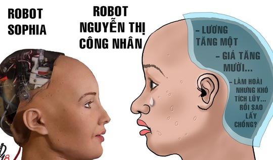 Lương công nhân và robot Sophia