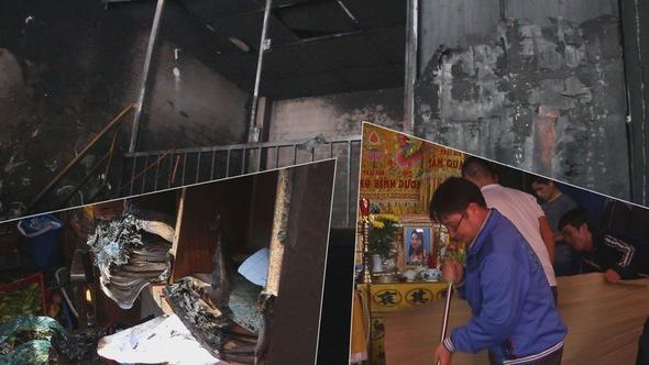 Cháy ki ốt, vợ tử vong, người chồng và hai con bị bỏng nặng