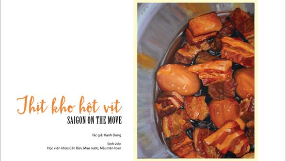 Cơm tấm, thịt kho hột vịt, cà phê sữa đá Sài Gòn lên tranh
