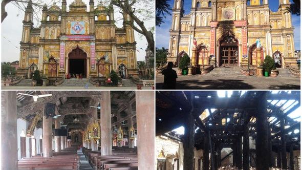 Cận cảnh thánh đường Trung Lao trăm tuổi trước và sau đám cháy