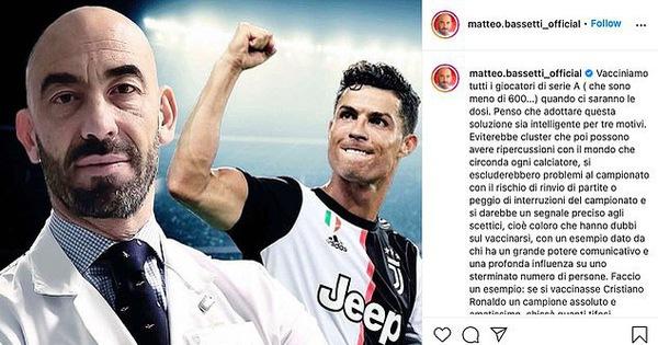 Điểm tin thể thao tối 3-3: Quan chức y tế kêu gọi Ronaldo xung phong tiêm vắc xin COVID-19